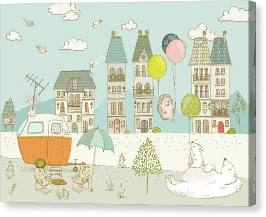 Canvas Print featuring the painting Bears And Mice Outside The City Cute Whimsical Kids Art by Matthias Hauser