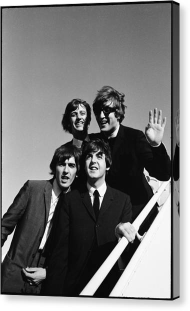 Beatles Arriving At Los Angeles Airport Canvas Print by Bill Ray