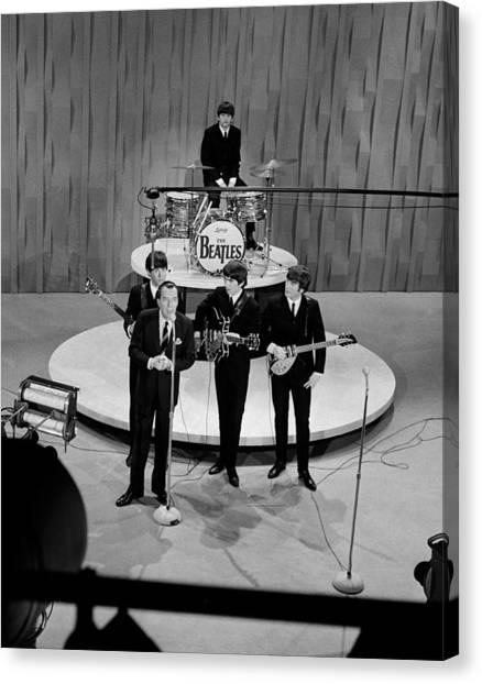 Beatles On Ed Sullivan Show Canvas Print by Popperfoto