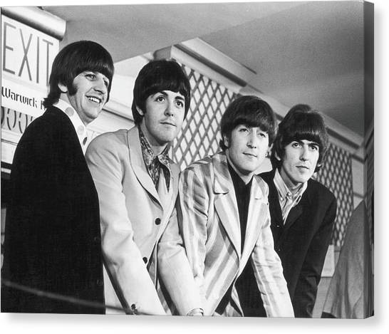 Beatles Press Conference Canvas Print by Fred W. McDarrah