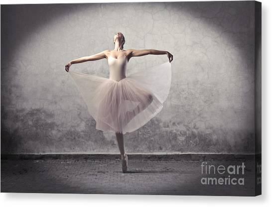 Exercising Canvas Print - Beautiful Ballerina Dancing by Ollyy