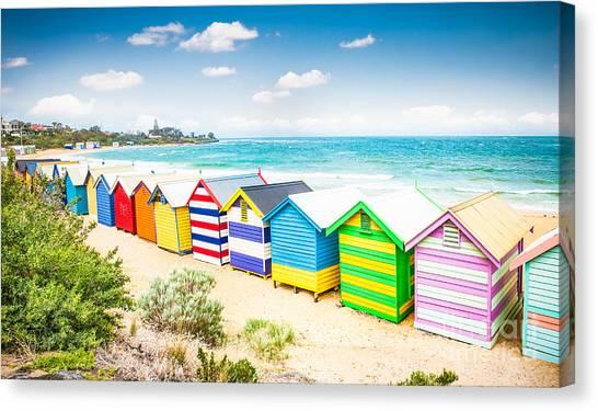 Sandy Beach Canvas Print - Beautiful Bathing Houses On White Sandy by Aleksandar Todorovic