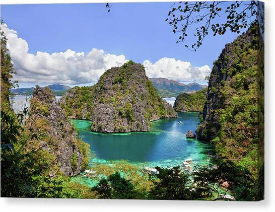 Beautiful Blue Lagoon At Kayangan Lake Canvas Print by Fototrav