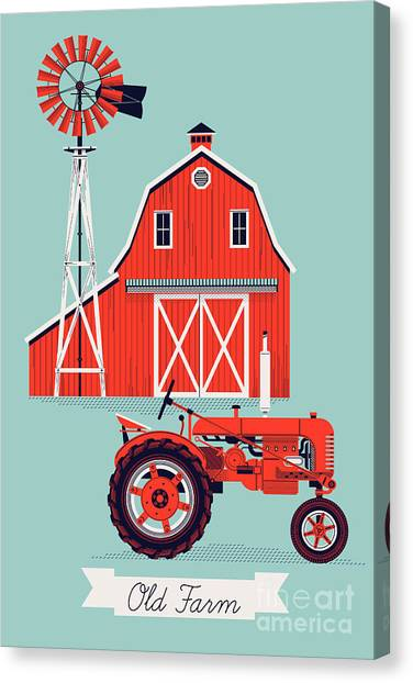 Farmland Canvas Print - Beautiful Detailed Vector Poster Or Web by Mascha Tace
