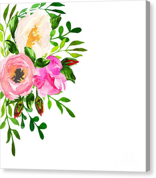 Wedding Bouquet Canvas Print - Beautiful Floral Hand Drawn Watercolor by Vector ann