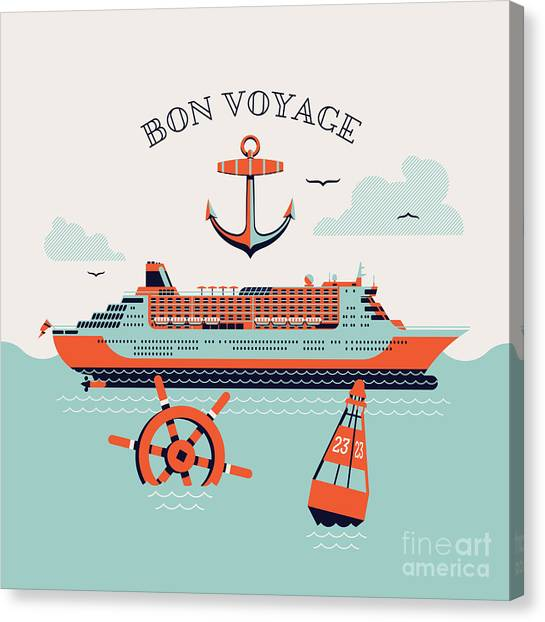 Trip Canvas Print - Beautiful Four Colored Bon Voyage by Mascha Tace