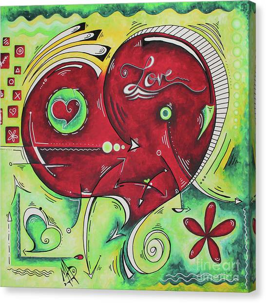 Canvas Print - Beautiful Green And Red Heart Painting Infinite Love Pop Of Love Collection By Madart by Megan Duncanson
