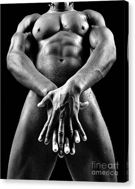 Beautiful Man Nude Or Naked With Great Sexy Body. Image In Black And White Canvas Print
