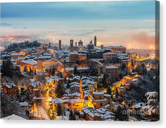 Church Canvas Print - Beautiful Medieval Town At Sunrise by Gambarini Gianandrea