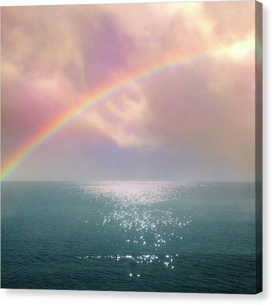Beautiful Morning In Dreamland With Rainbow Canvas Print