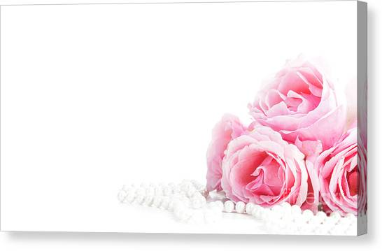 Wedding Bouquet Canvas Print - Beautiful Pastel Pink Roses Bunch And Elegant Bridal Pearls Isol by Jelena Jovanovic
