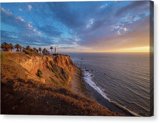 Beautiful Point Vicente Lighthouse At Sunset Canvas Print
