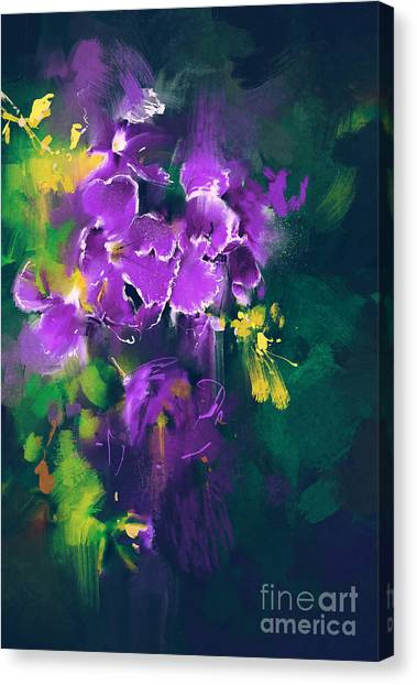 Botany Canvas Print - Beautiful Purple Flowers In Dark by Tithi Luadthong
