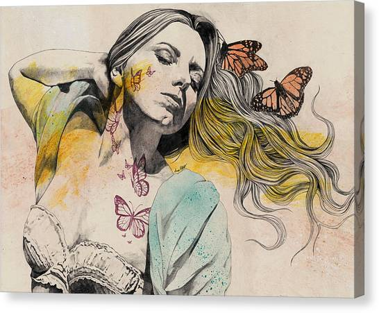 Long Hair Canvas Print - Beautiful Ruin - Sexy Butterfly Girl In Lingerie by Marco Paludet