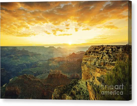 Cliffs Canvas Print - Beautiful Sunset At Monument Valley, Usa by Prochasson Frederic