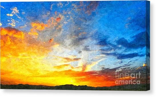 Beautiful Sunset In Landscape In Nature With Warm Sky, Digital A Canvas Print