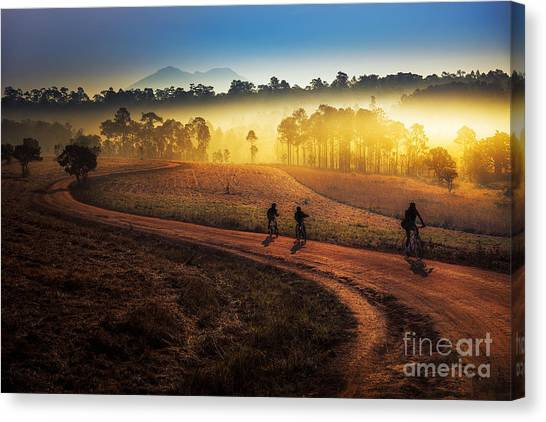 Sports Clothing Canvas Print - Beautiful Sunset Of Travel Place In by Travel Mania