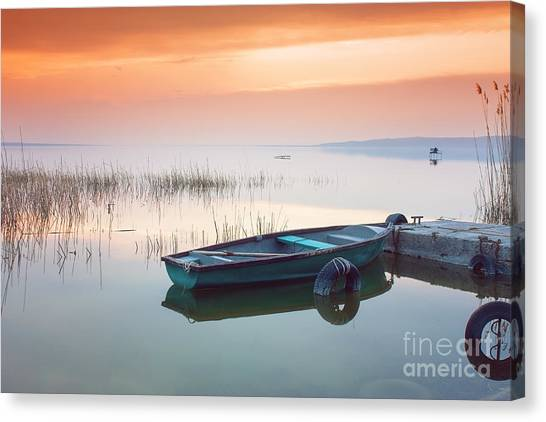 Atmosphere Canvas Print - Beautiful Sunset On Lake Balaton With by Leicheroliver