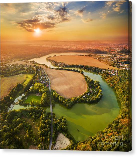 Beautiful Sunset Over Czech Valley Canvas Print by Kletr