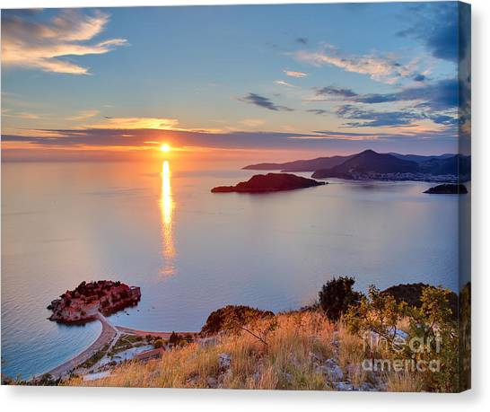 Cliffs Canvas Print - Beautiful Sunset Over Montenegro by Liseykina