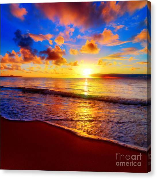 Tides Canvas Print - Beautiful Tropical Sunset On The Beach by Idiz