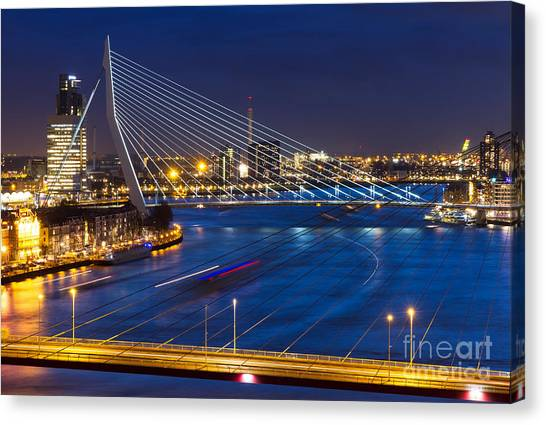 Swan Canvas Print - Beautiful Twilight View On The Bridges by Dennis Van De Water