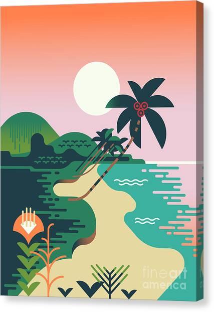Shrub Canvas Print - Beautiful Vector Flat Design by Mascha Tace