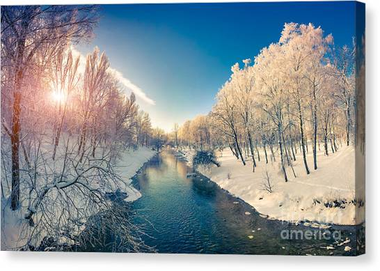 Hoarfrost Canvas Print - Beautiful Winter Sunrise In The City by Andrew Mayovskyy