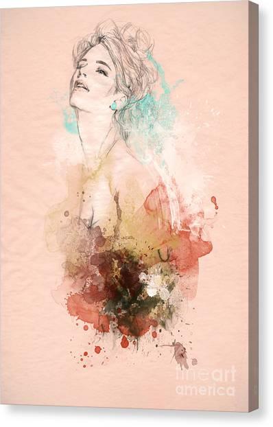 Fitness Canvas Print - Beautiful Woman . Hand Painted Fashion by Anna Ismagilova