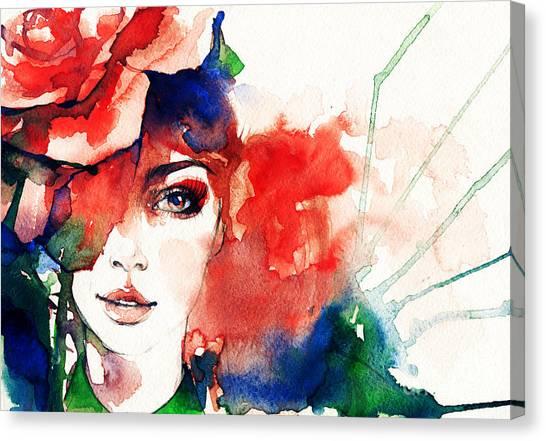 Fitness Canvas Print - Beautiful Woman Face. Watercolor by Anna Ismagilova