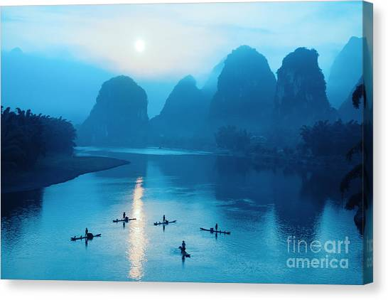 China Canvas Print - Beautiful Yangshuo Scenery In by Chuyuss