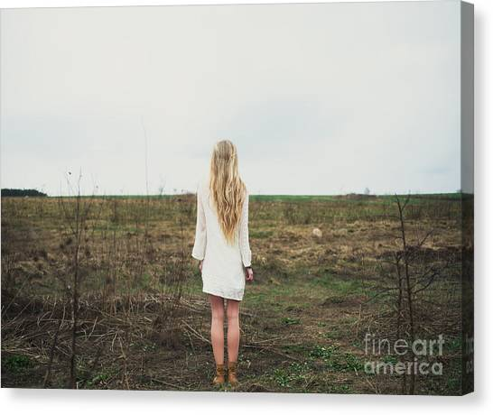 Dress Canvas Print - Beautiful Young Girl In The Spring by Aleshyn andrei