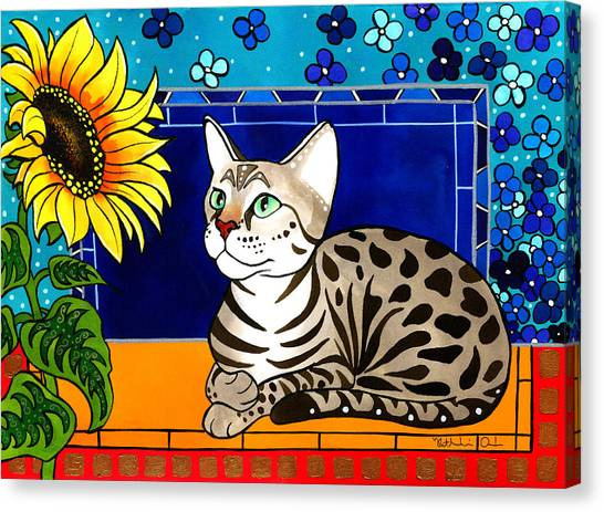Beauty In Bloom - Savannah Cat Painting Canvas Print