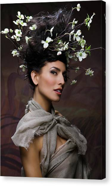 Casual Canvas Print - Beauty Portrait Of Woman Entwined In by Ralf Nau