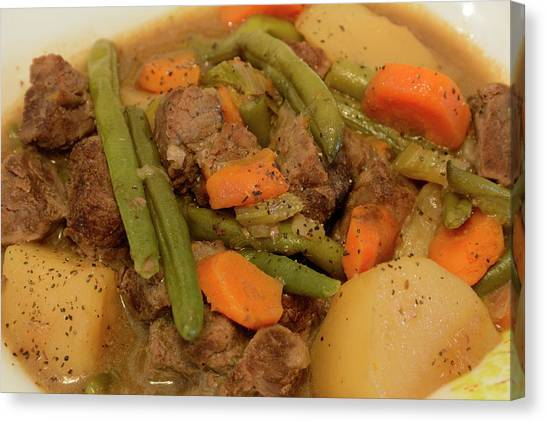 Canvas Print featuring the photograph Beef Stew Serving by Angie Tirado