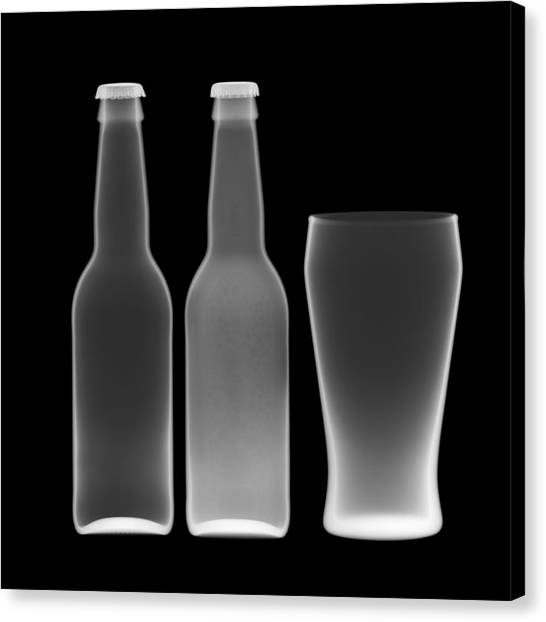 Beer Bottles And Drinking Glass Canvas Print