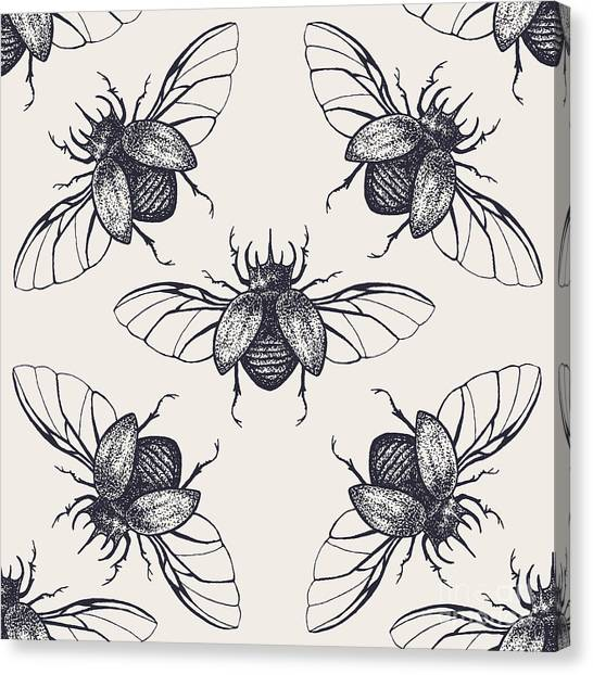 Engraving Canvas Print - Beetles Seamless Pattern. Vintage Hand by Anna Macabre