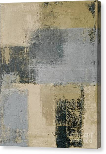 Grey Background Canvas Print - Beige And Grey Abstract Art Painting by T30 Gallery