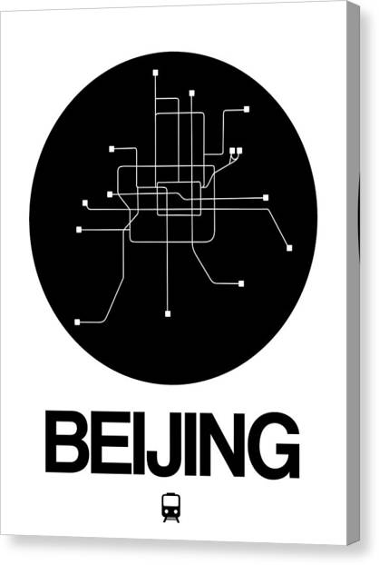 China Town Canvas Print - Beijing Black Subway Map by Naxart Studio