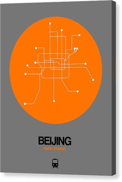 China Town Canvas Print - Beijing Orange Subway Map by Naxart Studio