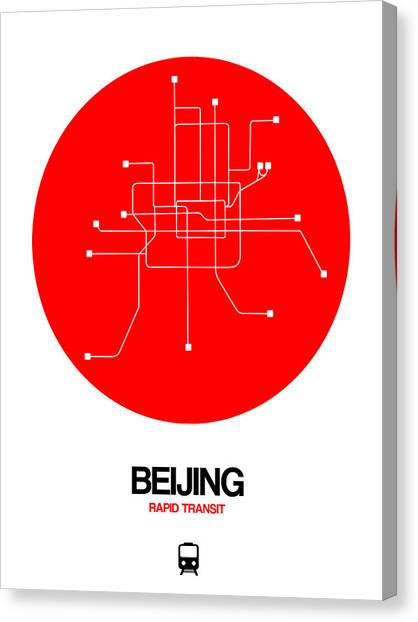 Old Train Canvas Print - Beijing Red Subway Map by Naxart Studio