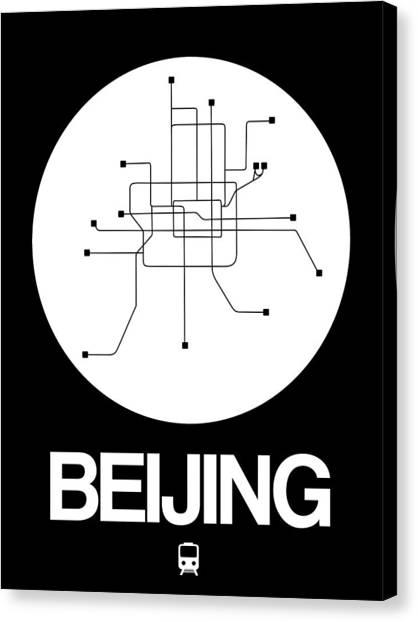 China Town Canvas Print - Beijing White Subway Map by Naxart Studio