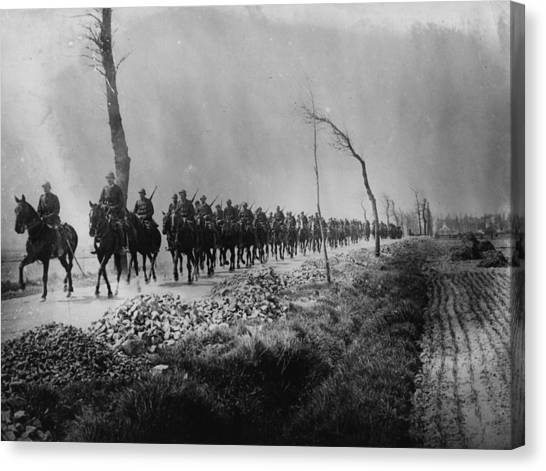 Belgian Cavalry Canvas Print by Hulton Archive