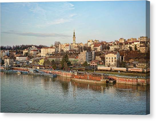 Canvas Print featuring the photograph Belgrade Cityscape by Milan Ljubisavljevic