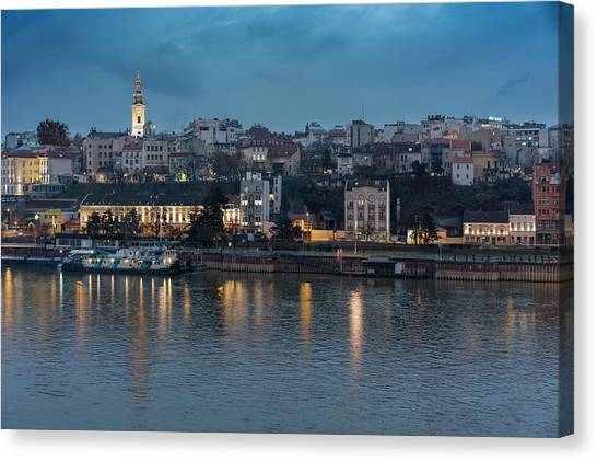 Canvas Print featuring the photograph Belgrade Skyline And Sava River by Milan Ljubisavljevic