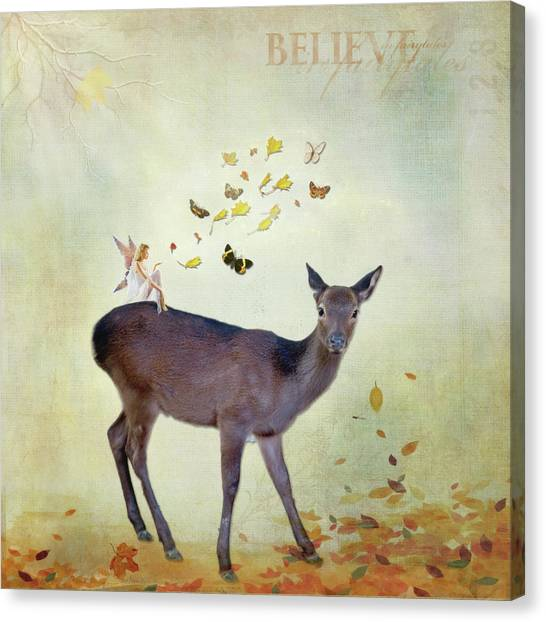 Canvas Print featuring the digital art Believe by Sue Collura