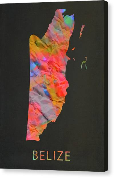 Belize Canvas Print - Belize Tie Dye Country Map by Design Turnpike