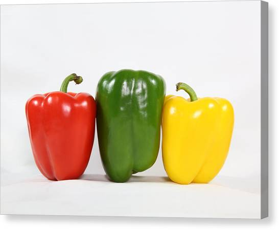 Canvas Print featuring the photograph Bell Pepper Support Group by Debi Dalio