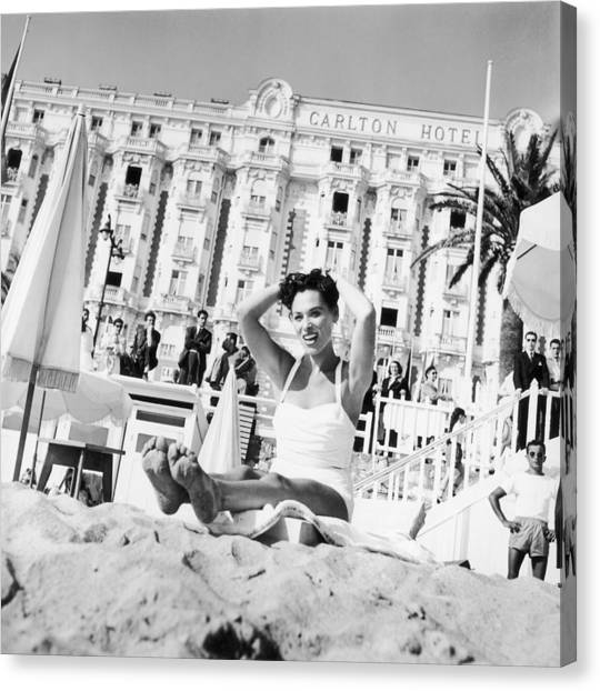 Bella Darvi In Cannes Before The Canvas Print