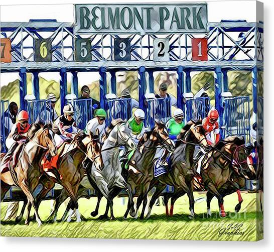 Belmont Park Starting Gate 1 Canvas Print